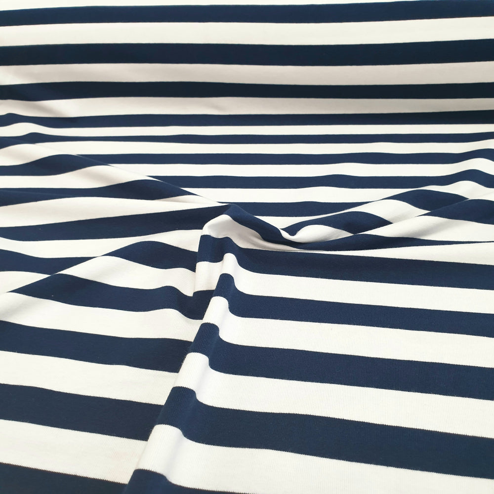Load image into Gallery viewer, Navy & White stripe - 2cm stripe- Cotton Spandex - Yarn Dyed