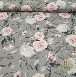 Roses on grey /smaller scale- 100% Cotton