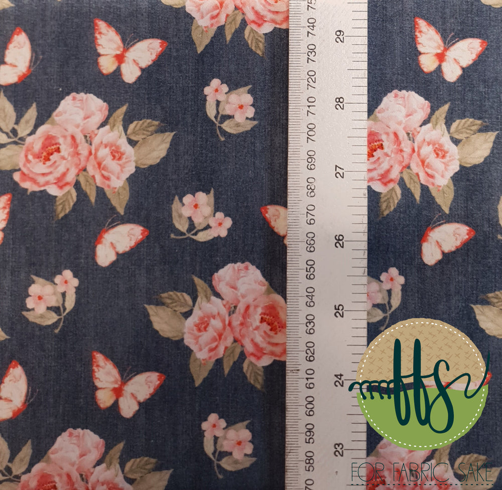 Load image into Gallery viewer, Roses on Denim- 100% Cotton