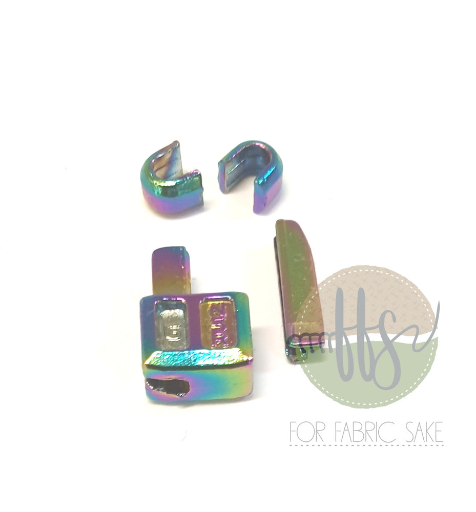 Rainbow metal zipper ends and stoppers