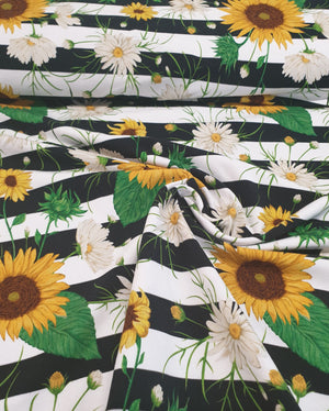 Sunflowers and stripes- Cotton Spandex - 220g