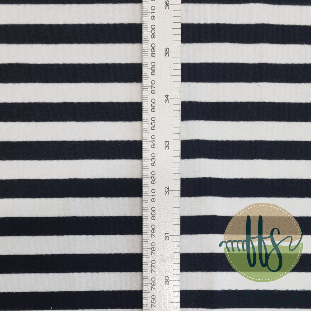Load image into Gallery viewer, Black & White 1cm Stripes - Cotton Spandex - Yarn Dyed