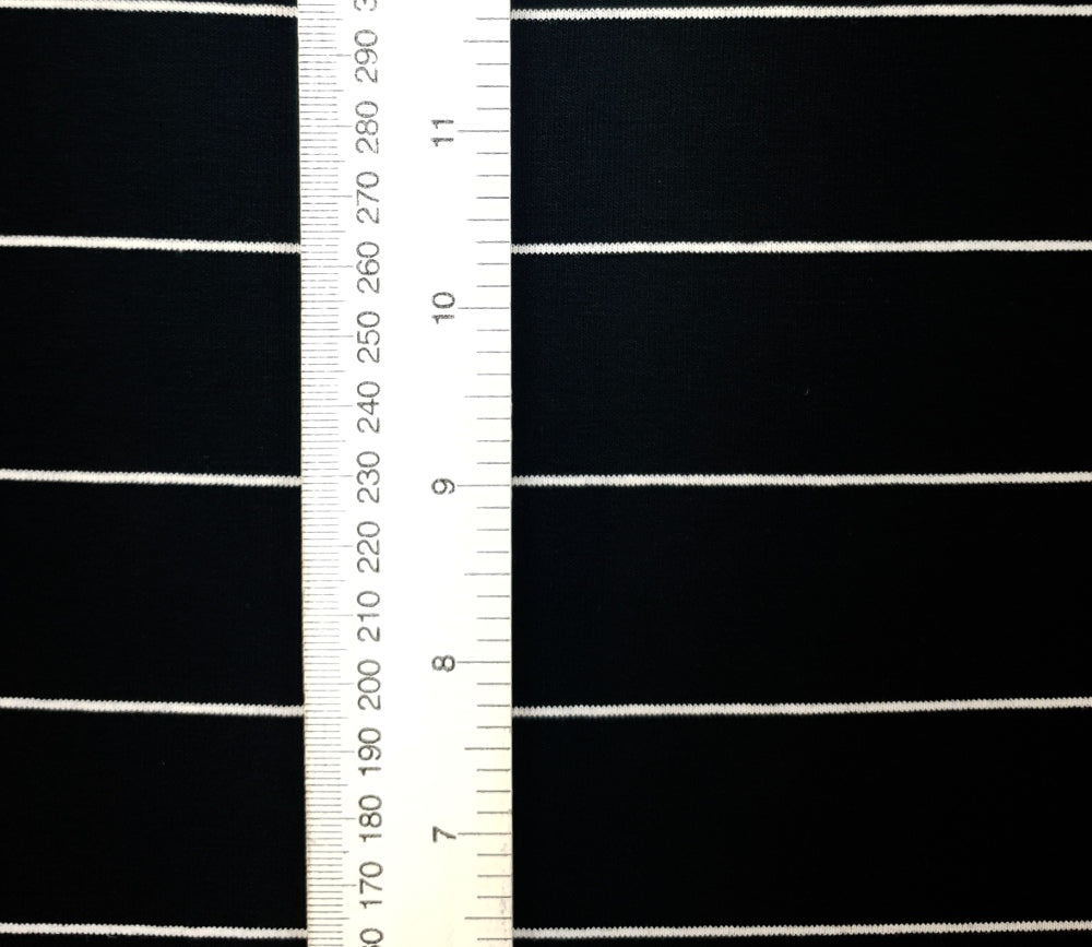 Load image into Gallery viewer, Black &Thin white stripe - Cotton Spandex - Yarn Dyed