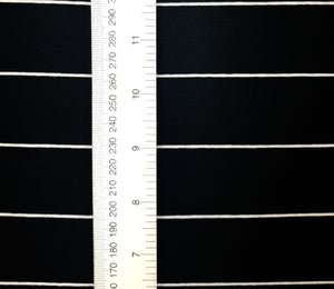 Black &Thin white stripe - Cotton Spandex - Yarn Dyed