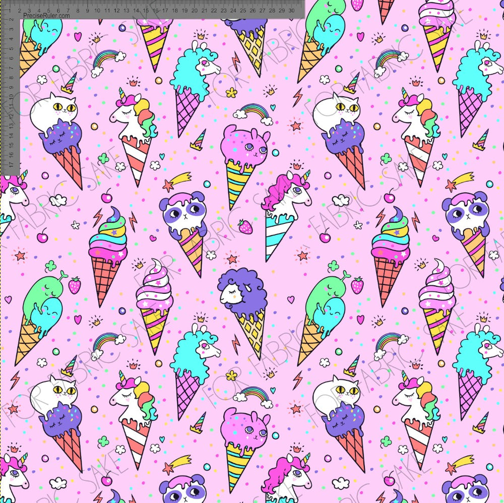 Load image into Gallery viewer, Ice Cream Unicorns on Pink -Custom Pre-order