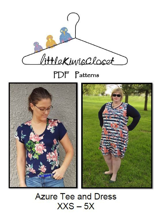 Women's Azure Tee and Dress- XXS - 5X - Little Kiwis Closet