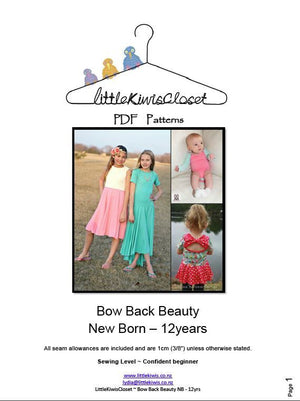 Bow Back Beauty-NB -12Yrs - Little Kiwis Closet