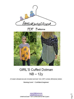 Girl's Cuffed Dolman-NB -12Yrs - Little Kiwis Closet
