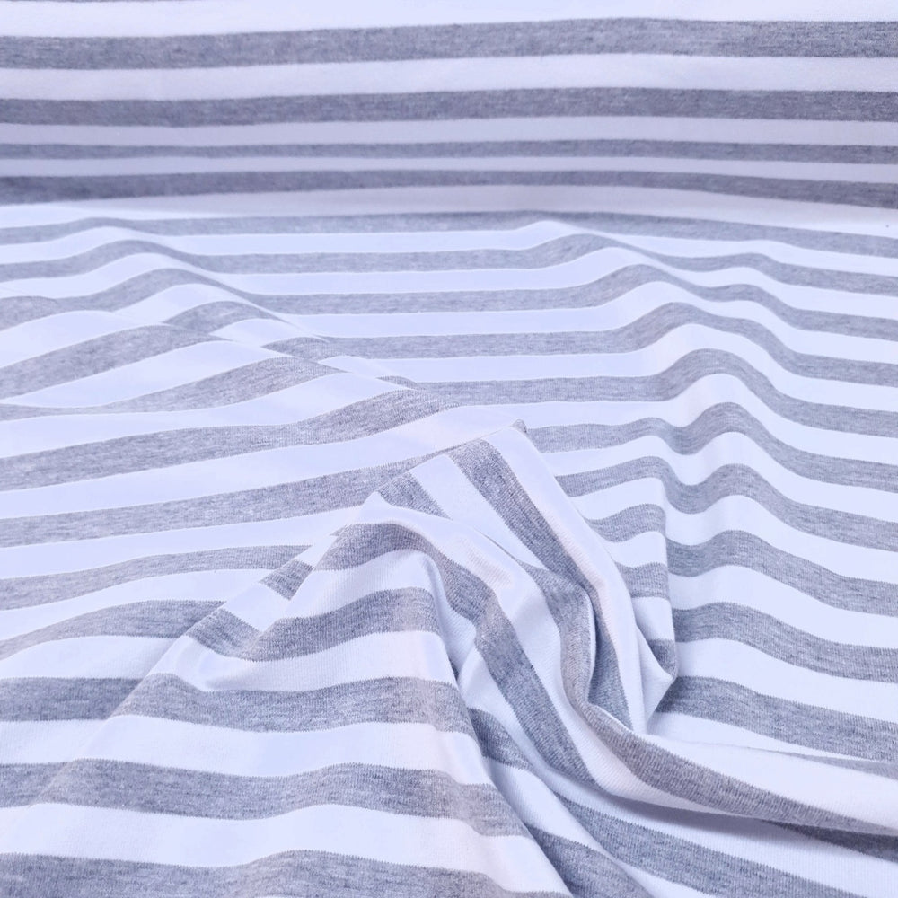 Grey Marl/White 1cm Stripes - Cotton Spandex - Yarn Dyed