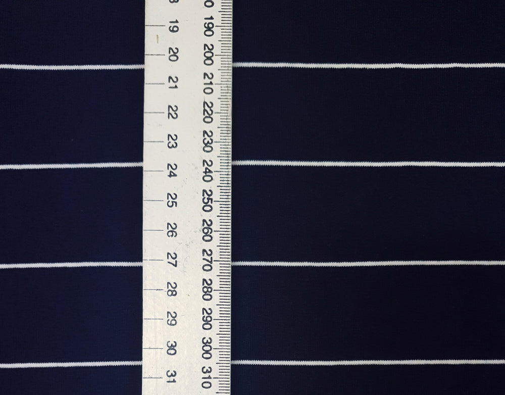 Load image into Gallery viewer, Navy & Thin white stripe - Cotton Spandex - Yarn Dyed