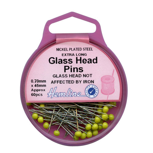 Extra Long Glass Head Quilting Pins - 45mm