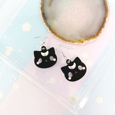 Moon Kitties earrings - Black