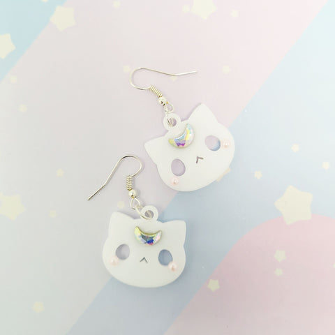 Moon Kitties earrings - White