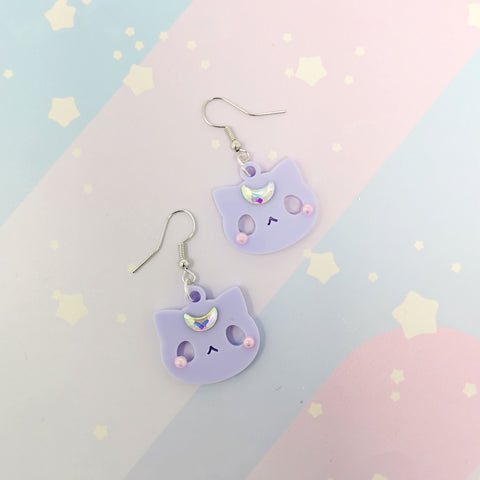 Moon Kitties earrings - Lilac