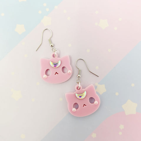 Moon Kitties earrings - Pink