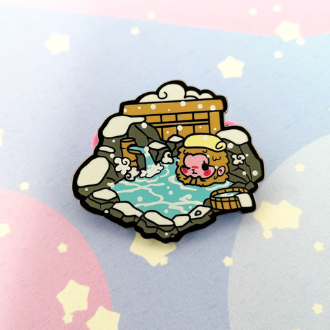 Snow Monkey in Onsen -- Hard Enamel Pin - Kittynaut