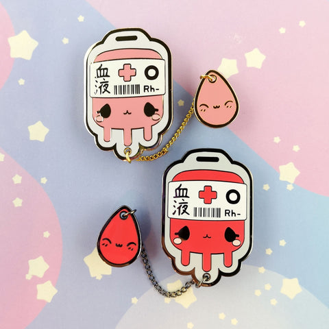O- Negative Blood Bag -- Hard Enamel Collar Pin -- Kawaii Medical Pins Series - Kittynaut
