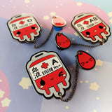 Blood Bag in AB, O, A-- Hard Enamel Collar Pin -- Kawaii Medical Pins Series - Kittynaut