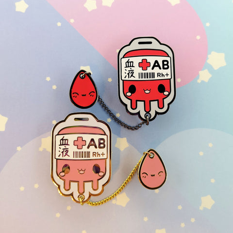AB+ Positive Blood Bag-- Hard Enamel Collar Pin -- Kawaii Medical Pins Series - Kittynaut