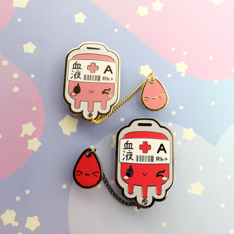 A+ Positive Blood Bag-- Hard Enamel Collar Pin -- Kawaii Medical Pins Series - Kittynaut