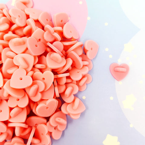 Heart shaped rubber pinbacks - Kittynaut