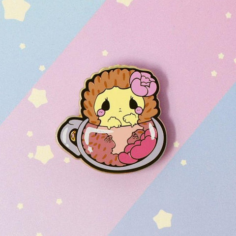 Rose Tea Hedgehog - Hard enamel pin - Kittynaut