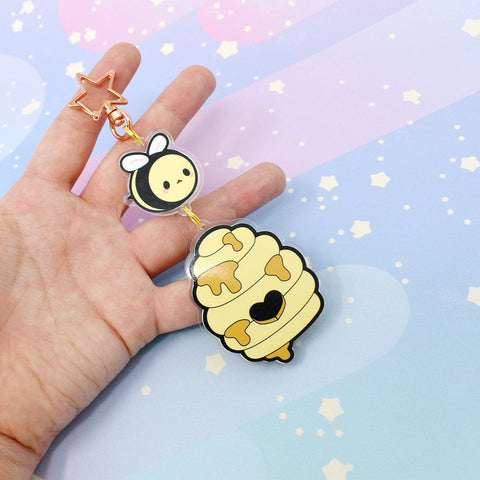 Honey Bee + Hive - Large Acrylic Keychain - Kittynaut
