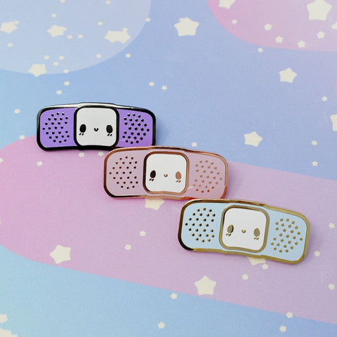 Bandaid Buddy -- Hard Enamel Collar Pin -- Kawaii Medical Pins Series - Kittynaut