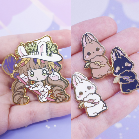 Bunny Witch + Bunny Familiar Enamel Pins