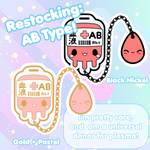 Preorder: Blood Bags NEW A and O Types!  Restocking AB - Hard Enamel Pin