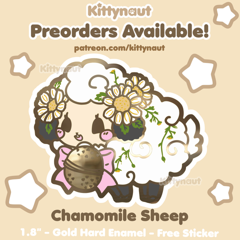 PREORDER -- Chamomile Sheep Teanimals - Hard Enamel Pin and Sticker