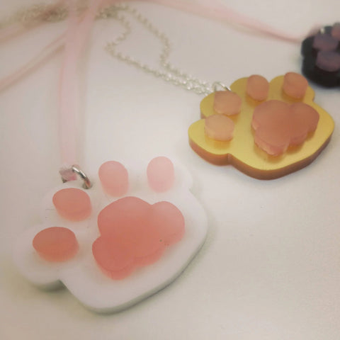 Kitty Toe Beans Necklace -- Handmade Jewelry