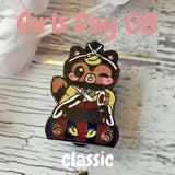 Drummer Tanuki: Girl's Day Animal Enamel Pins