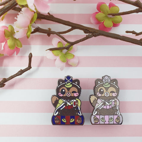 Drummer Tanuki: Girl's Day Animal Enamel Pins - Kittynaut