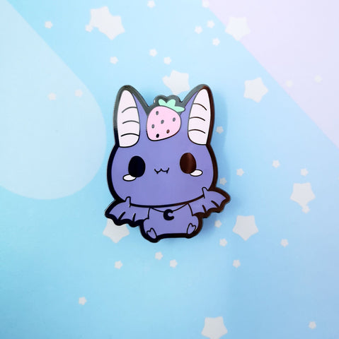 Bat + Strawberry -- Hard Enamel Pin -- Favorite Snacks Collection - Kittynaut