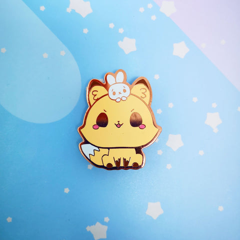 Fox + Bunny -- Hard Enamel Pin -- Favorite Snacks Collection - Kittynaut