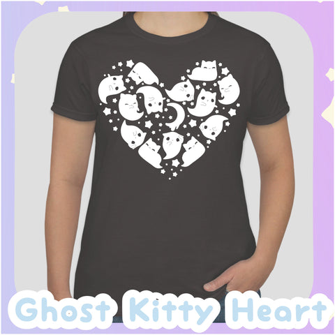 Ghost Kitty Heart -- Tee Shirt - Kittynaut