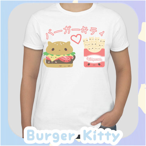 Burger Kitty + Fries Kittens -- Tee Shirt - Kittynaut