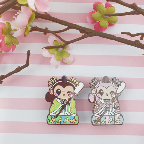Helper Monkey: Girl's Day Animal Enamel Pins