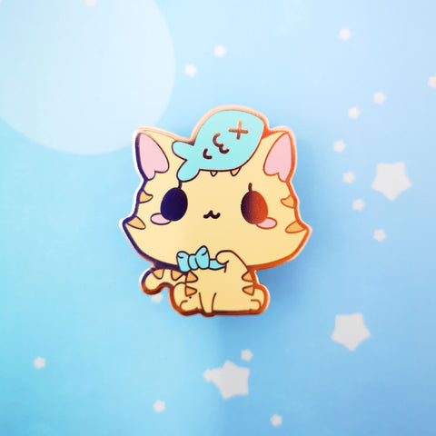 Kitty + Fish -- Hard Enamel Pin -- Favorite Snacks Collection - Kittynaut