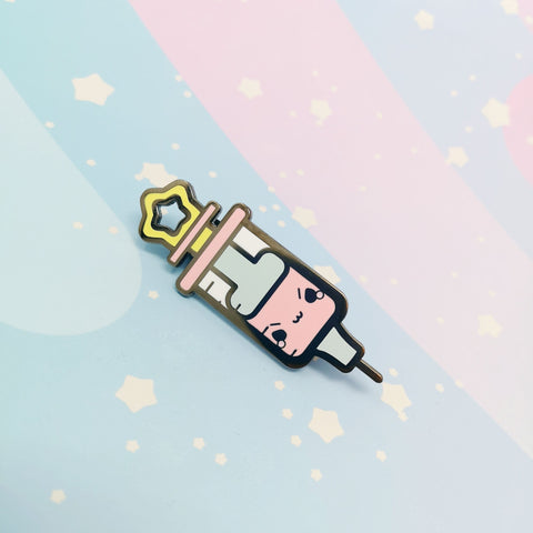 Mr. Stabby the Syringe -- Hard Enamel Pin -- Kawaii Medical Pins Series - Kittynaut