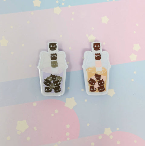 Bubble Boba Kittea Enamel Pins - Kittynaut