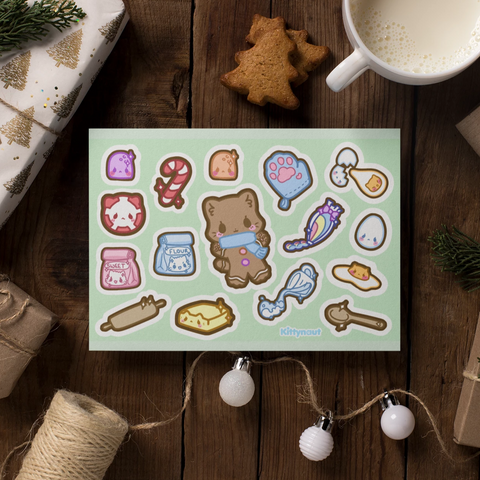 Gingerbread Kitty - Sticker Sheets