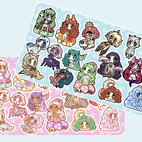 Monster Girls -- Sticker Sheets - Kittynaut
