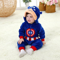 New Animal Baby Romper Captain America Bebe Infant Clothing Baby Boy Girl Clothes Cartoon Flannel Hooded Jumpsuit Costume