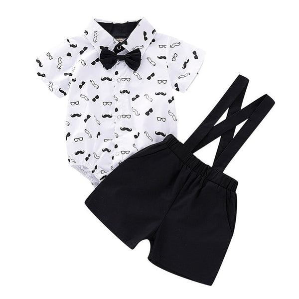 Top and Top Baby Boy Clothing Sets Infants Newborn Boy Clothes Shorts Sleeve Tops+Overalls Summer Bebes Clothing Outfits 2PCS