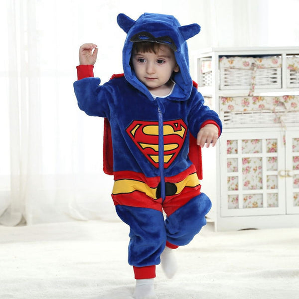 New Animal Baby Romper Superman Bebe Infant Clothing Baby Boy Girl Clothes Cartoon Flannel Hooded Jumpsuit Costume
