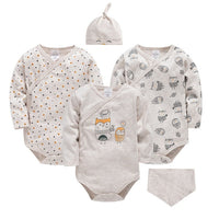Long Sleeve Organic Cotton Newborn Baby Jumpsuit Cute Infant Baby Clothes for Gifts Beige Toddler Boys Girls Rompers Bebe Roupas