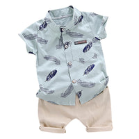 2PCS Baby Boy Clothing Sets Bebe Fashion T-shirt+Solid Pants Set Summer Kid Outfit Toddler Children Cotton Tracksuit Clothes