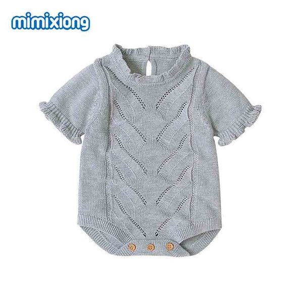 Baby Bodysuits Summer Newborn Girls Jumpsuits Clothes Candy Color Knitted Short Sleeves Infantil Bebes Outfits Children Overalls